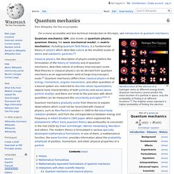 Quantum mechanics - Wikipedia
