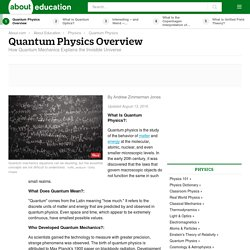 Quantum Physics Overview, Concepts and History