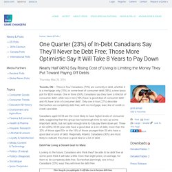 One Quarter (23%) of In-Debt Canadians Say They'll Never be Debt Free; Those More Optimistic Say It Will Take 8 Years to Pay Down