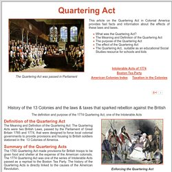 Quartering Act of 1774 ***