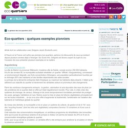 Opinions - Avril 2011 - Eco-quartiers : quelques exemples pionniers