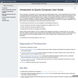 Quartz Composer User Guide: Introduction to Quartz Composer User Guide