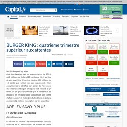 BURGER KING : quatrième trimestre supérieur aux attentes