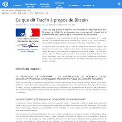 Ce que dit Tracfin à propos de Bitcoin