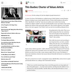 This Quebec Charter of Values Article