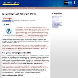 Quel CMS choisir en 2013