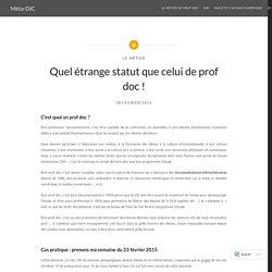 Quel étrange statut que celui de prof doc ! – Méta-DIC