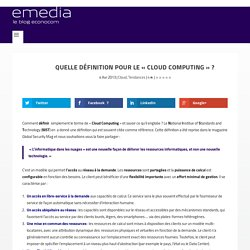 Quelle définition pour le «Cloud Computing»