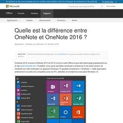 Différence entre OneNote et OneNote2016