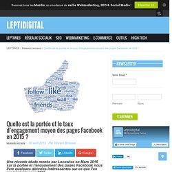 Quelle est la portée et l'engagement moyen des pages Facebook en 2015 ?