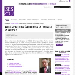 Quelles politiques économiques en France et en Europe ?