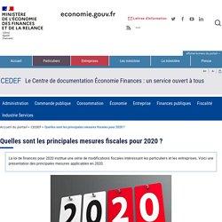 Quelles sont les principales mesures fiscales pour 2020 ?