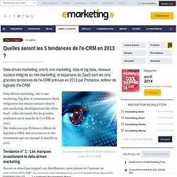 Quelles seront les 5 tendances de l'e-CRM en 2013 ?