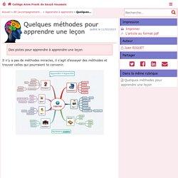 Quelques méthodes pour apprendre une leçon - Collège Anne Frank de Sauzé Vaussais - Pédagogie - Académie de Poitiers