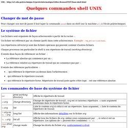 Quelques commandes shell UNIX
