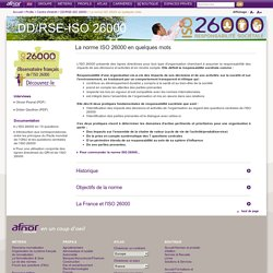 La norme ISO 26000 en quelques mots / DD/RSE-ISO 26000