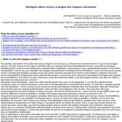 Quelques idées reçues à propos des langues anciennes