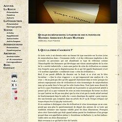 Quelques réflexions à partir de deux textes de Mathieu Amiech et Julien Mattern - Temps critiques