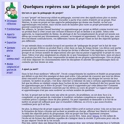 Quelques repères sur la pédagogie de projet