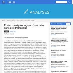 Ebola : quelques leçons d'une crise sanitaire dramatique