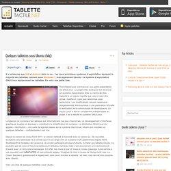 Quelques tablettes sous Ubuntu (Màj)