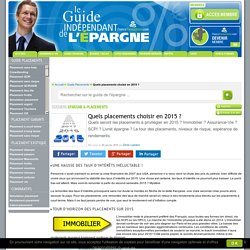 Quels placements choisir en 2015 ? : Guide des placements