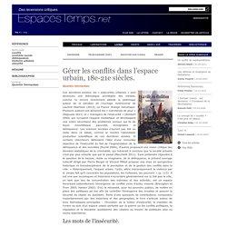 Quentin Verreycken : Gérer les conflits dans l'espace urbain, 18e-21e siècles.