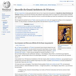 Querelle du Grand Architecte de l'Univers