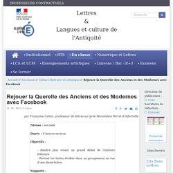 Rejouer la Querelle des Anciens et des Modernes avec Facebook (F. Cahen)