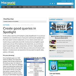 How to create good queries in Spotlight