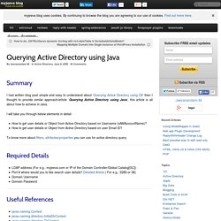 Querying Active Directory using Java - myjeeva.com