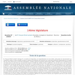 JO ASSEMBLEE NATIONALE 07/02/17 Au sommaire: QE 100657 produits dangereux - pesticides - utilisation. conséquences. apiculture
