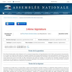 JO ASSEMBLEE NATIONALE 14/02/17 Au sommaire: QE 101990 produits dangereux - produits phytosanitaires - utilisation. réglementation