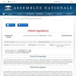 JO ASSEMBLEE NATIONALE 13/05/14 Au sommaire: QE 51526 déchets, pollution et nuisances - déchets ménagers - Cour des comptes. rapport 2014. préconisations