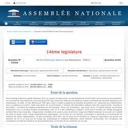JO ASSEMBLEE NATIONALE 29/04/14 Au sommaire: QE 53566 consommation - sécurité alimentaire - viandes. bactéries résistantes aux antibiotiques. perspectives