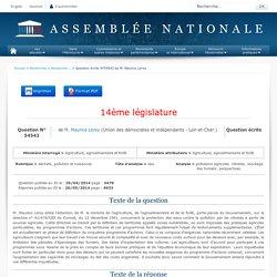 JO ASSEMBLEE NATIONALE 20/05/14 Au sommaire: QE 54543 déchets, pollution et nuisances - eau - pollutions agricoles. nitrates. stockage des fumiers. perspectives