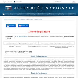 JO ASSEMBLEE NATIONALE 03/06/14 Au sommaire: QE 55562 agriculture - produits alimentaires - alimentation équilibrée. accès pour les plus démunis. perspectives