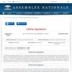 JO ASSEMBLEE NATIONALE 14/04/15 Au sommaire: QE 75276 agriculture - agriculteurs - procédures administratives. simplification