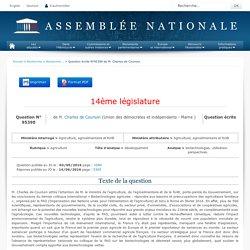 JO ASSEMBLEE NATIONALE 14/06/16 Au sommaire: QE 95390 agriculture - développement - biotechnologies. utilisation. perspectives