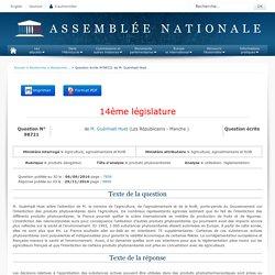 JO ASSEMBLEE NATIONALE 29/11/16 Au sommaire: QE 98721 produits dangereux - produits phytosanitaires - utilisation. réglementation
