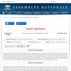 JO ASSEMBLEE NATIONALE 20/01/15 Au sommaire: QE 72186 produits dangereux - pesticides - utilisation. conséquences. apiculture