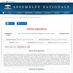JO ASSEMBLEE NATIONALE 21/04/15 Au sommaire: QE 77784 animaux - frelons asiatiques - prolifération. lutte et prévention