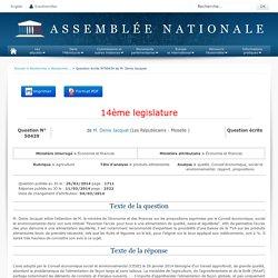 JO ASSEMBLEE NATIONALE 11/03/14 Réponse à question N°50439 : produits alimentaires - qualité. Conseil économique, social et environnemental. rapport. propositions