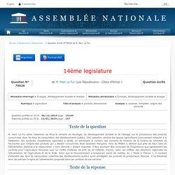 JO ASSEMBLEE NATIONALE 13/01/15 Réponse à question au MEDDE QE 70626 agriculture - produits alimentaires - cantines. ministère. origine des produits