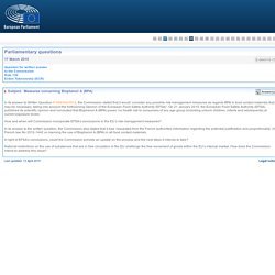 PARLEMENT EUROPEEN - Réponse à question E-004315-15 Measures concerning Bisphenol A (BPA)