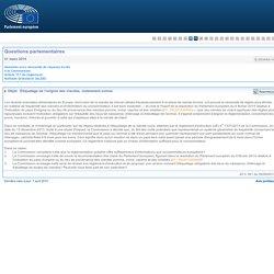 PARLEMENT EUROPEEN - Réponse à question E-003449-14 Étiquetage de l'origine des viandes, notamment ovines
