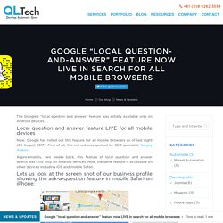 Local question and answer feature LIVE for all mobile devices