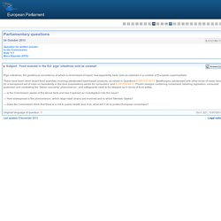 PARLEMENT EUROPEEN - Réponse à question E-012188-13 Food scandal in the EU: pigs' intestines sold as calamari