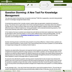 Question Storming: A New Tool For Knowledge Management