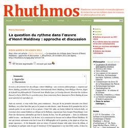 La question du rythme dans l'œuvre d'Henri Maldiney: approche et discussion